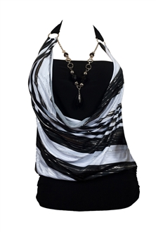 Plus size Black Glitter print Necklace accented O-ring strap top