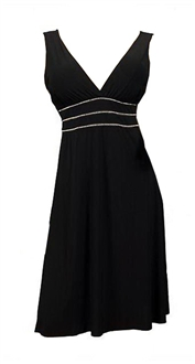 Jr Plus Size Sexy Black Rhinestone Low Cut V-Neck Cocktail Dress