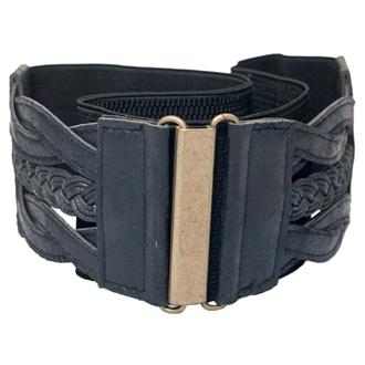 Plus Size Braided Elastic Leatherette Fashion Belt Black