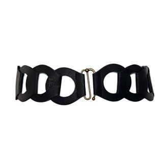 Plus Size Interlock Elastic Belt with Hook Closure Black