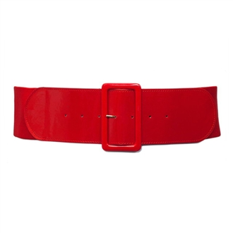 Plus Size Wide Patent Leather Fashion Belt Red