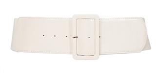 Plus Size Wide Patent Leather Fashion Belt White