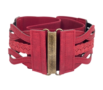 Plus sizeBraided Elastic Leatherette Fashion Belt Wine