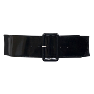 Women's Wide Patent Leather Fashion Belt Black