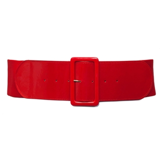 Women's Wide Patent Leather Fashion Belt Red
