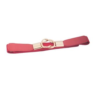Plus size Gold Interlock Buckle Skinny Elastic Belt Red