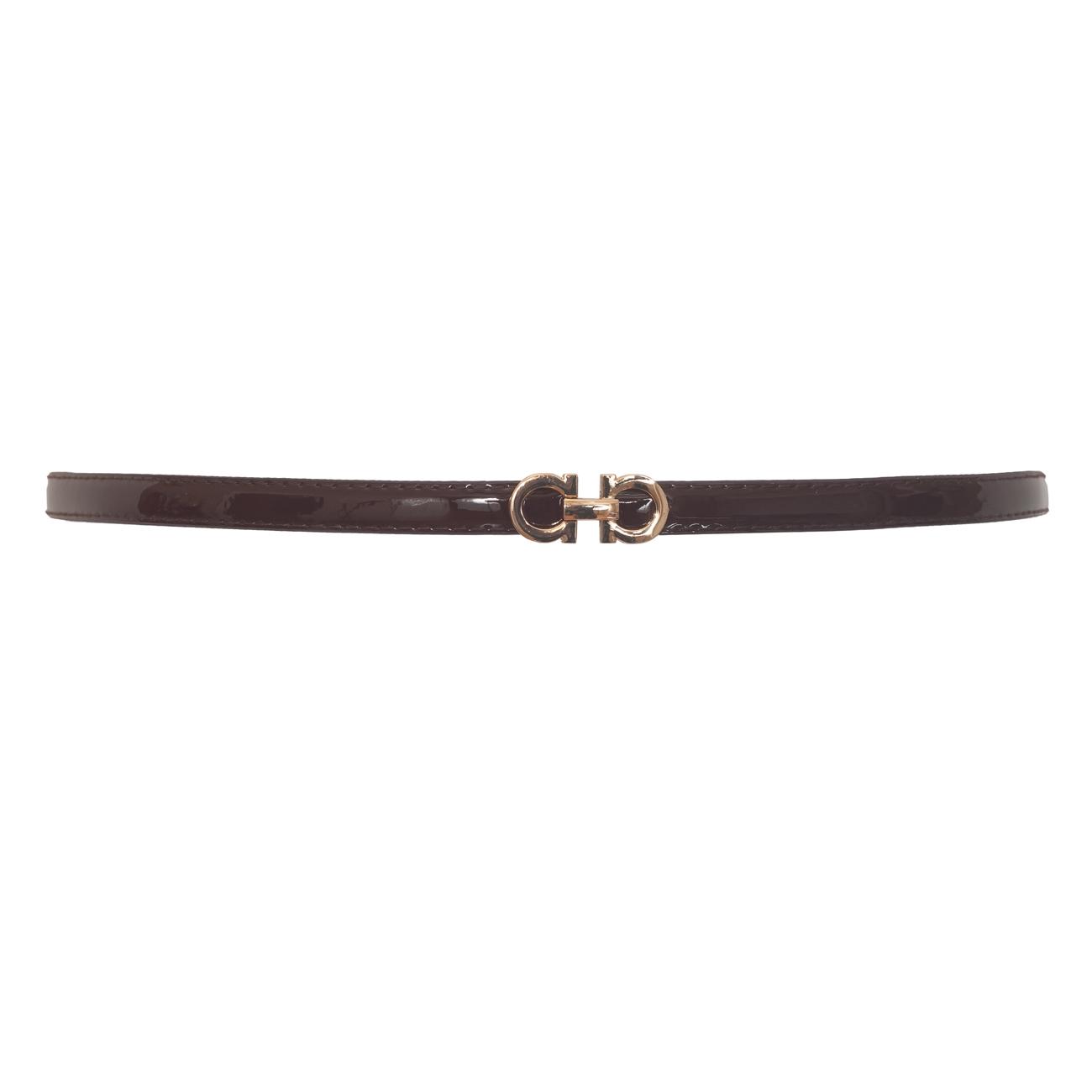 Plus size Adjustable Patent Leather Skinny Belt Brown