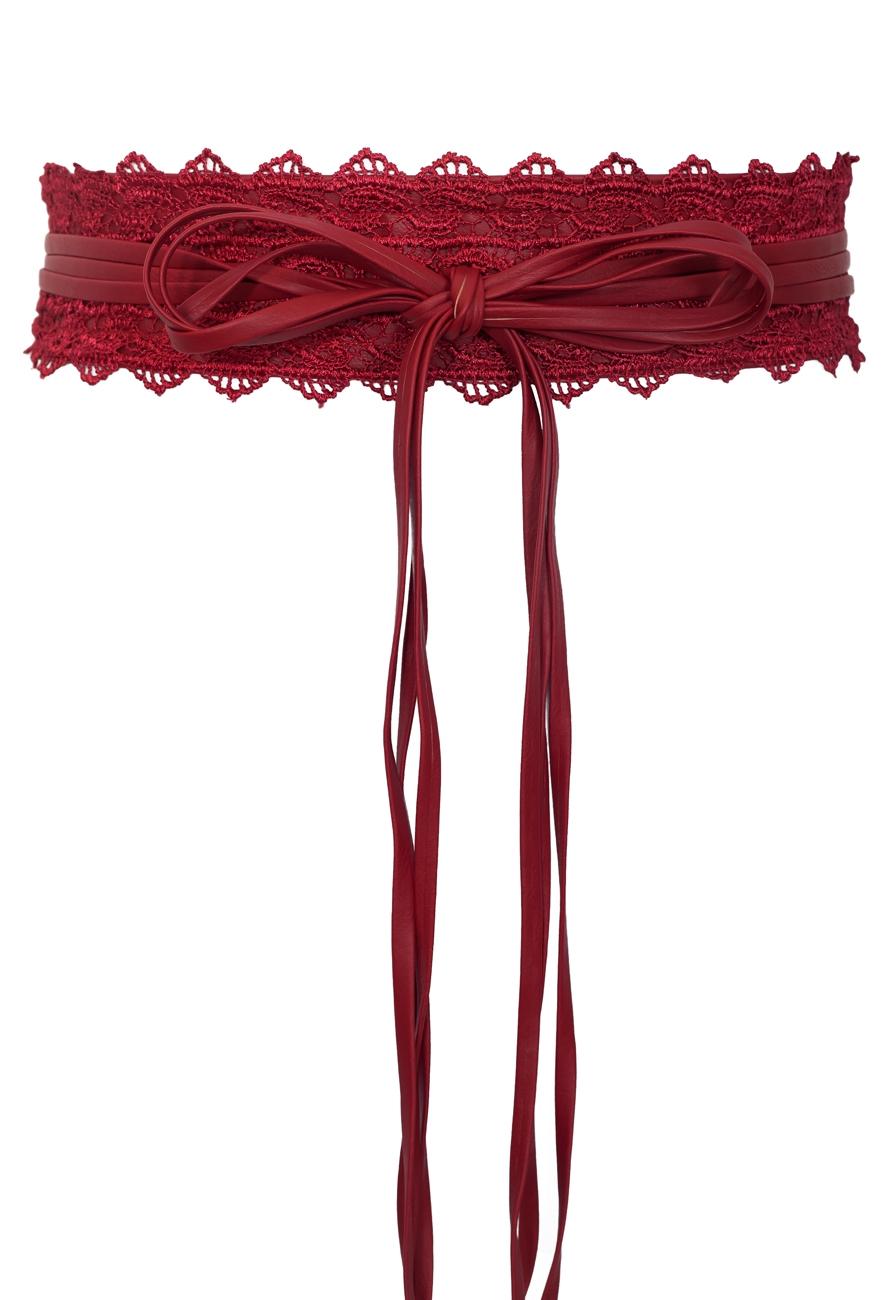 Plus size Faux Leather Obi Waistband Sash Belt Lace Detail Red