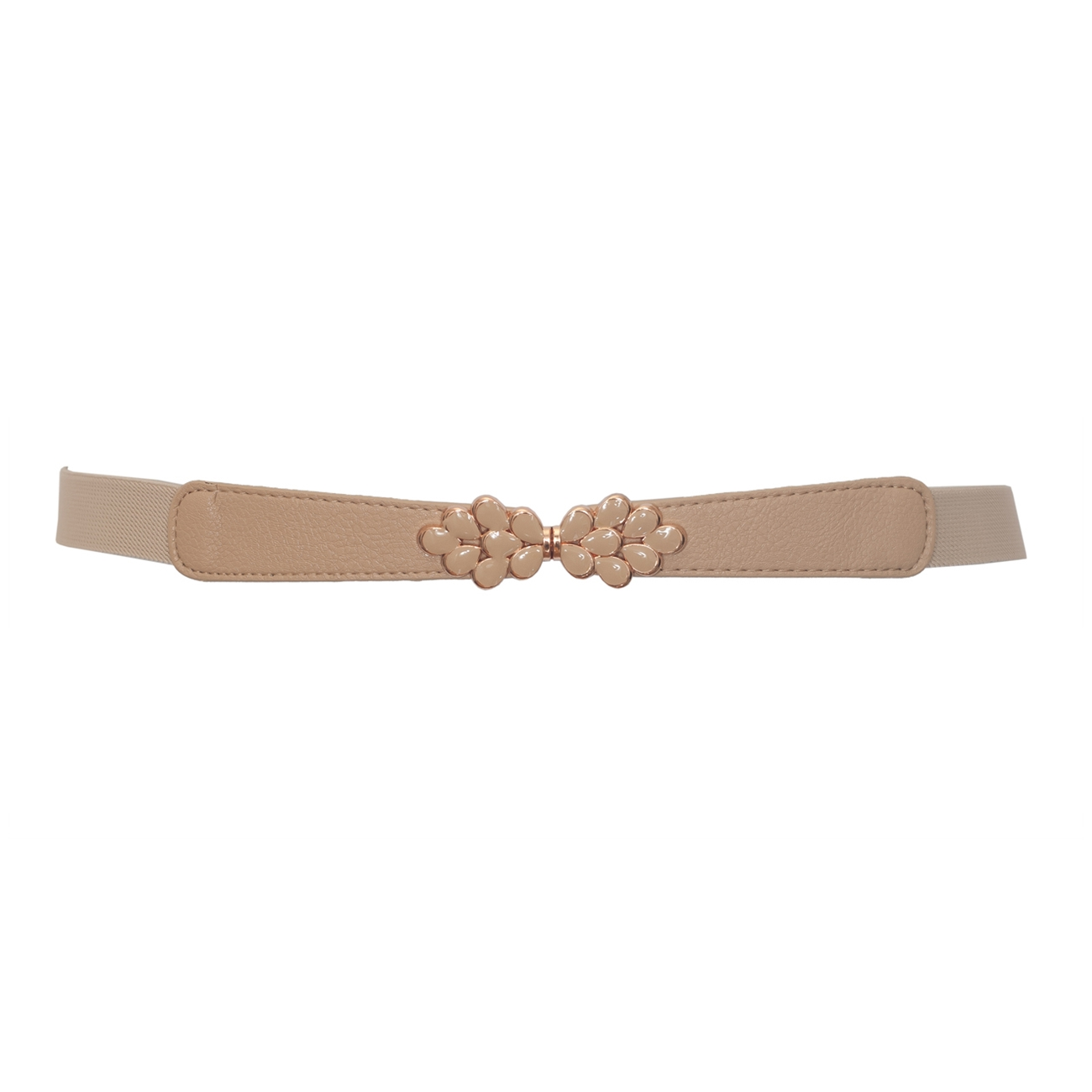 Plus size Flower Buckle Skinny Elastic Belt Beige