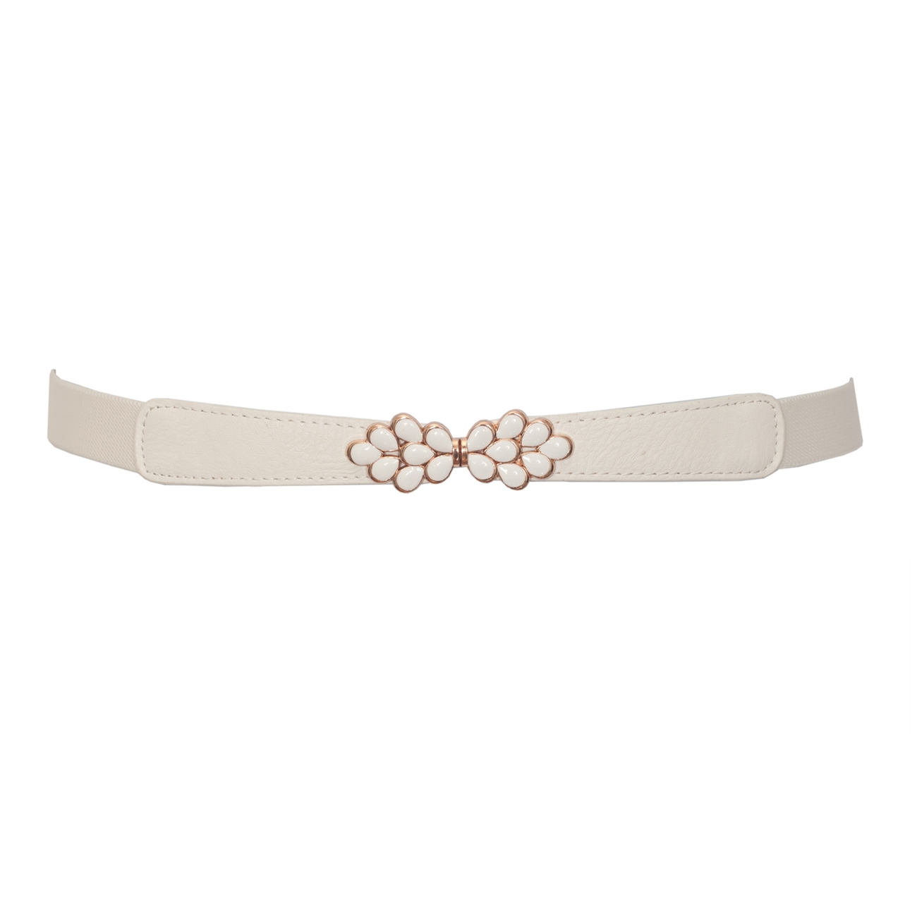 Plus size Flower Buckle Skinny Elastic Belt Off White
