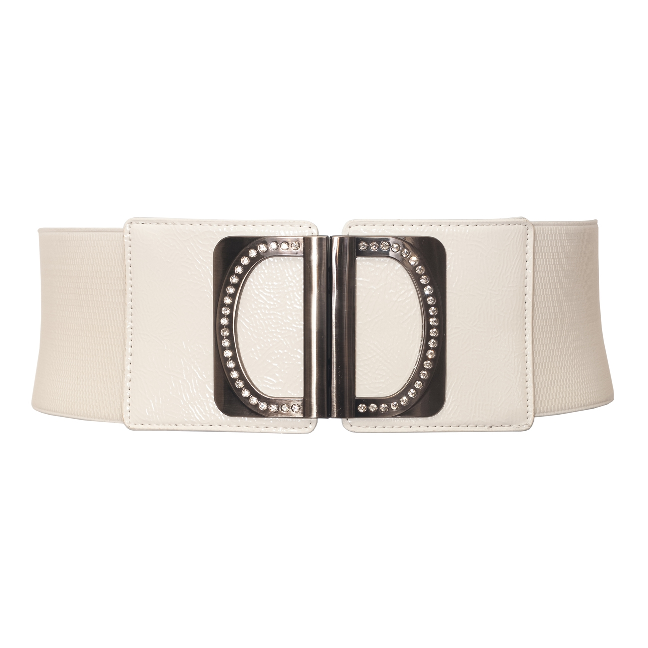 Plus Size Rhinestone Accented Wide Elastic Belt White