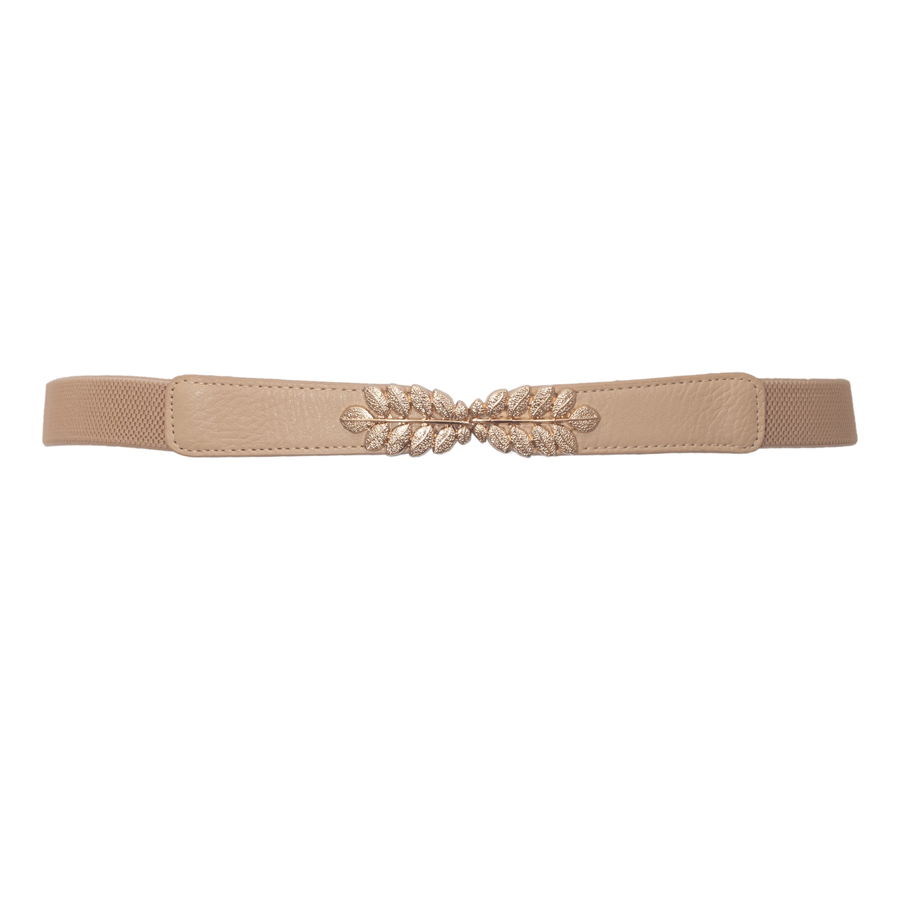 Plus size Leaf Interlocking Buckle Elastic Belt Khaki