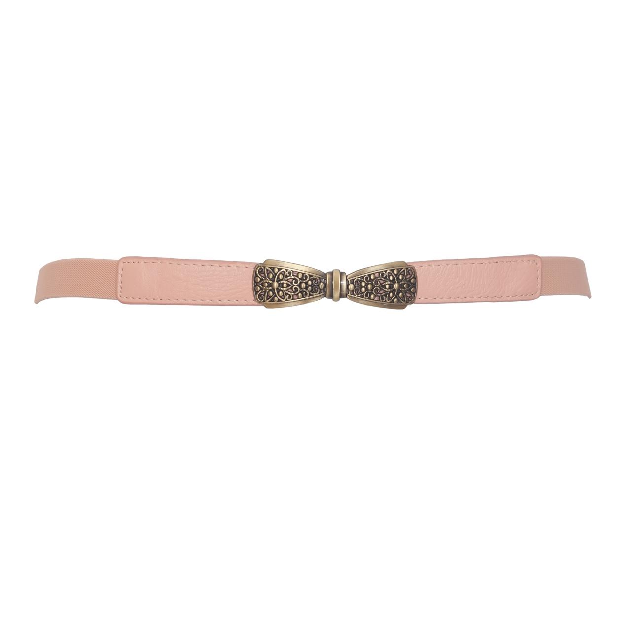Plus size Bow Buckle Elastic Belt Pink