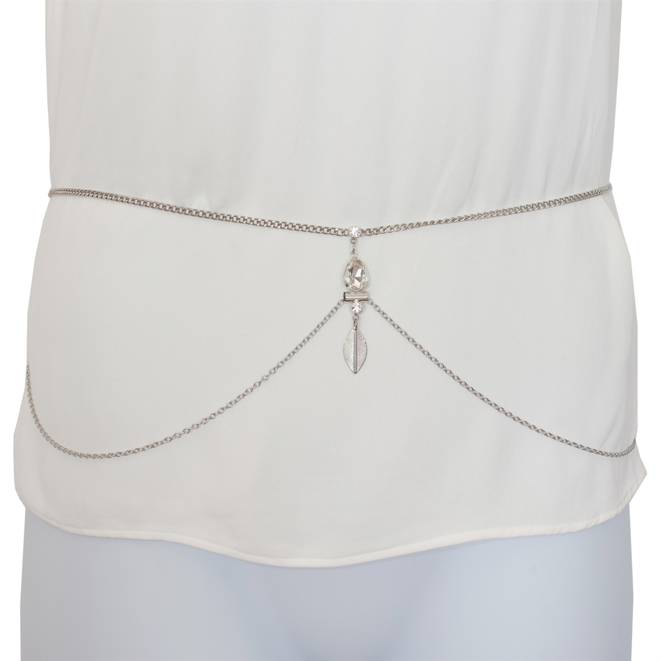 Plus Size Rhinestone Pendant Belly Waist Belt Body Chain Silver