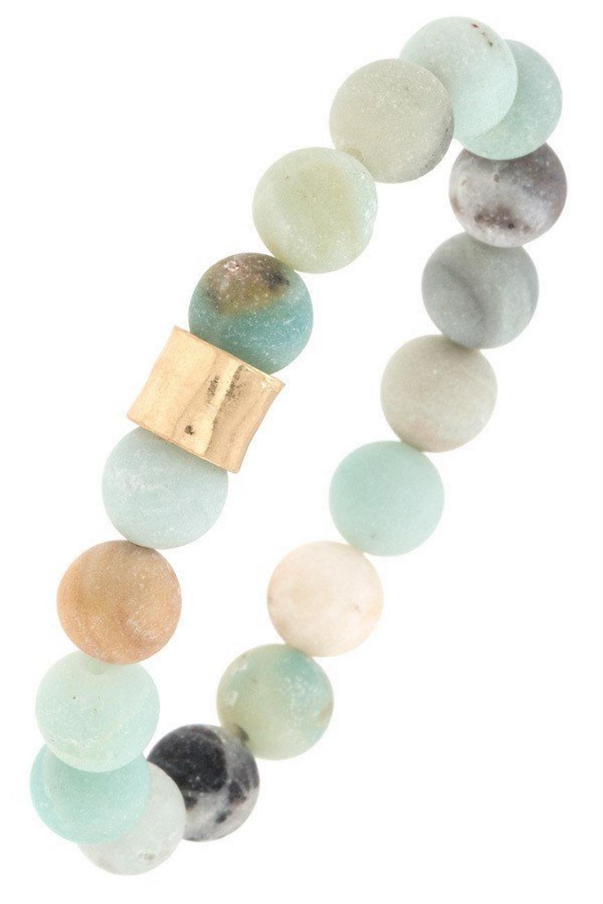 Semi Precious Stone Hammered Metal Bead Stretch Bracelet Chalcedony