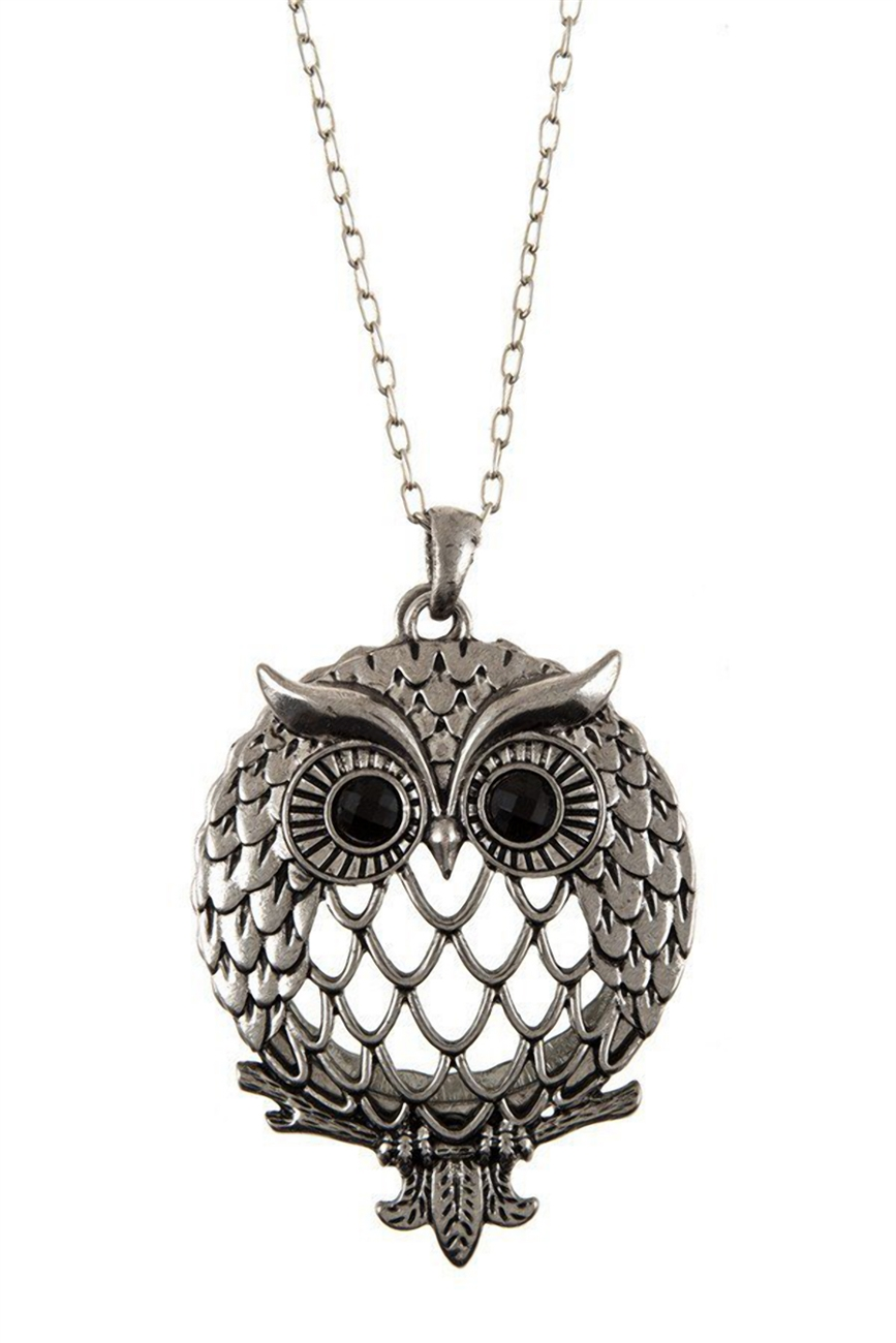 Magnifier Magnifying Glass Owl Pendant Sliding Top Necklace Silver Tone