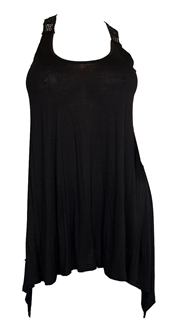 Plus size Laced Back Black Sleeveless Tunic Top