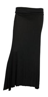 Plus Size Black Hip Hugger Long Skirt