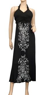 Plus Size Black Embroidery Print Maxi Halter Neck Cocktail Dress