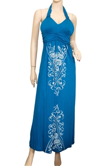 Plus Size Royal Blue Embroidery Print Maxi Halter Neck Cocktail Dress