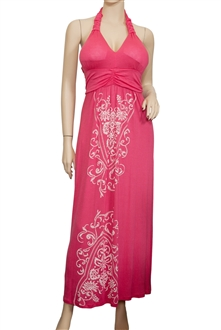 Plus Size Pink Embroidery Print Maxi Halter Neck Cocktail Dress