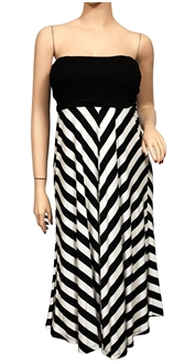 Plus size Striped Dress Skirt Black
