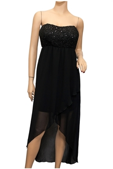 Plus size Sequined Bodice High-Low Chiffon Dress Black