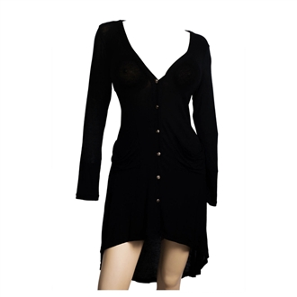 Купить Plus size Button Front Longline Hi-Lo Cardigan Black