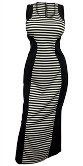 Plus Size Maxi Dress Black Stripe Print