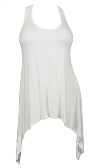 Plus size Laced Back Sleeveless Tunic Top Off White