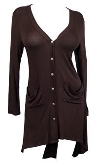 Купить Plus size Button Front Longline Hi-Lo Cardigan Dark Brown