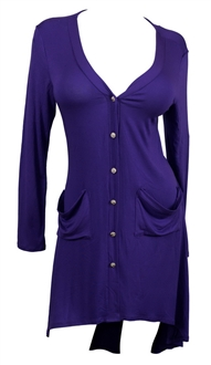 Купить Plus size Button Front Longline Hi-Lo Cardigan Purple