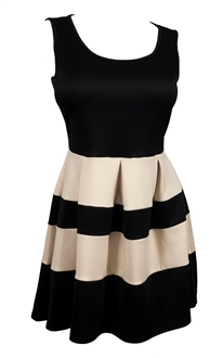 Plus size Color Block Flare Mini Dress Black Taupe
