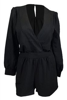 Plus Size Long Sleeve Romper Black