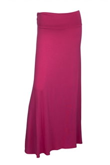 Plus Size Ruched Waist Hip Hugger Long Skirt Pink