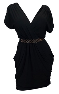 Plus size Deep V-Neck Wrap Bodice Dress Black