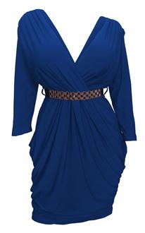 Plus size Deep V-Neck Wrap Bodice Long Sleeve Dress Royal Blue