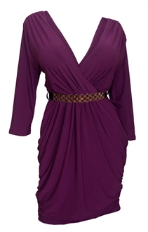 Plus size Deep V-Neck Wrap Bodice Long Sleeve Dress Purple