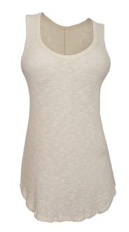 Plus size Sheer Cotton Knit Sleeveless Tunic Top Ivory