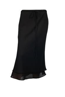 Plus size Layered Long Skirt Black