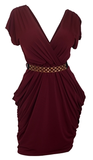Plus size Deep V-Neck Wrap Bodice Dress Burgundy