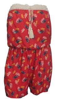 Plus size Sleeveless Romper Coral Floral Print