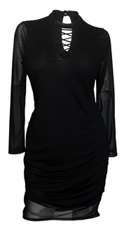 Plus size Lace Up Long Sleeve Mesh Dress Black