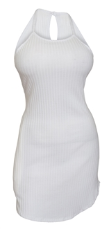 Plus size Open Back Sleeveless Mini Dress White