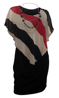 Plus Size Stripe Print Layered Poncho Dress Stripe Print Red