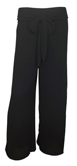 Plus size Chiffon Long Gaucho Chiffon Pants Black