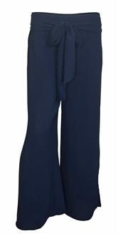 Plus size Chiffon Long Gaucho Chiffon Pants Navy