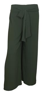 Plus size Chiffon Long Gaucho Chiffon Pants Olive