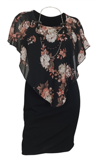 Plus Size Layered Poncho Dress Floral Print Black 10816