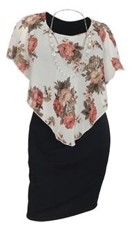 Plus Size Layered Poncho Dress Floral Print Off White 10816